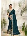Peacock Blue Latest Designer Party Wear Wedding Sari
