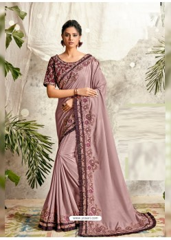 Dusty Pink Latest Designer Party Wear Wedding Sari