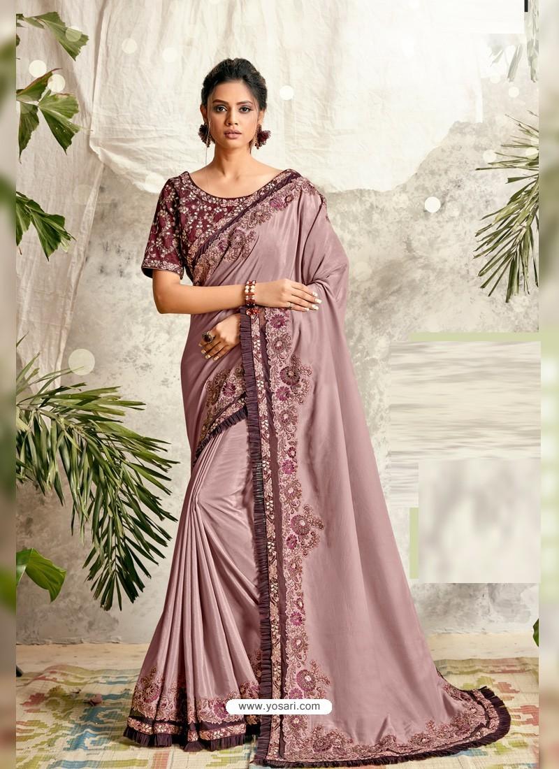 Dusty Pink Latest Designer Party Wear Wedding Sari