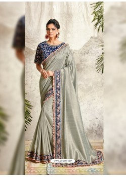 Silver Latest Designer Party Wear Wedding Sari