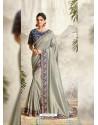 Silver Latest Designer Party Wear Wedding Sari