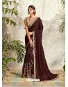 Deep Scarlet Latest Designer Party Wear Wedding Sari