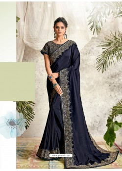 Navy Blue Latest Designer Party Wear Wedding Sari