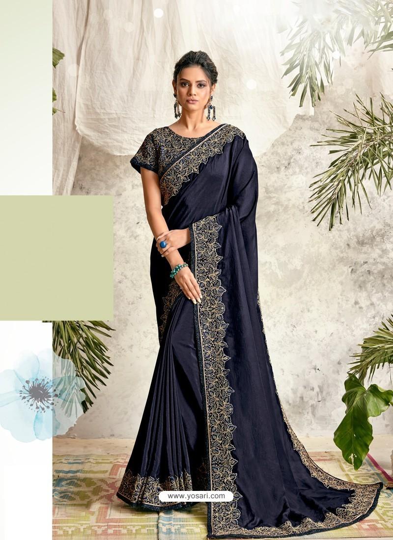 Navy Blue Latest Designer Party Wear Wedding Sari