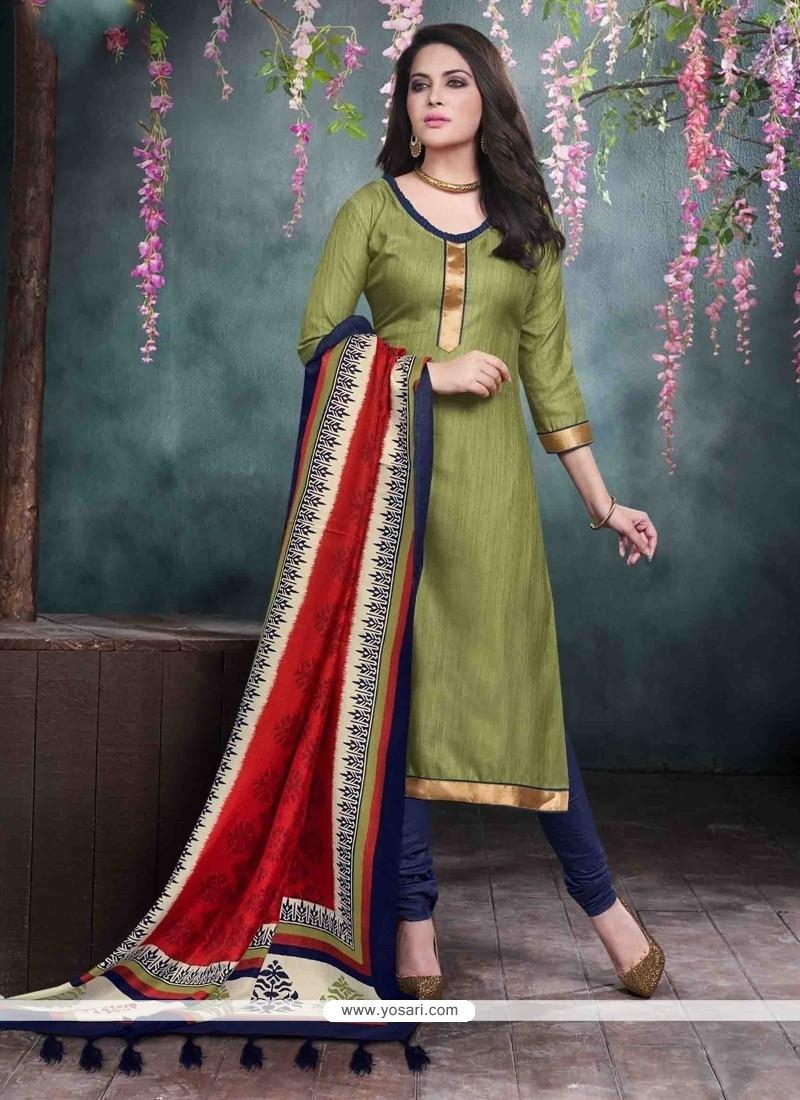 Dainty Green Lace Work Bhagalpuri Silk Churidar Salwar Kameez