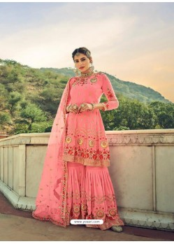 Peach Latest Heavy Designer Wedding Sharara Salwar Suit