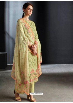 Green Party Wear Designer Cotton Linen Straight Salwar Suit