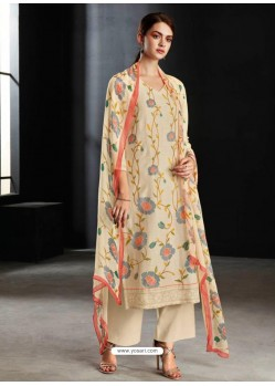 Light Beige Party Wear Designer Cotton Linen Straight Salwar Suit