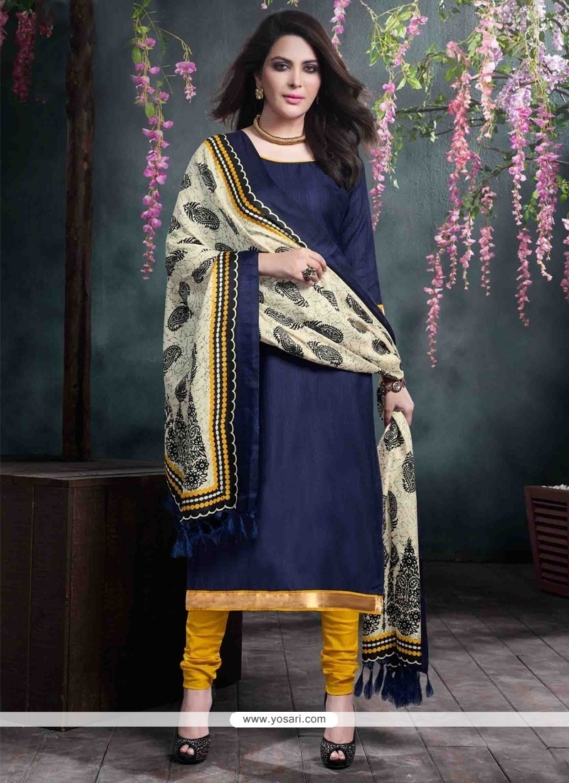 Superlative Bhagalpuri Silk Navy Blue Lace Work Churidar Salwar Kameez