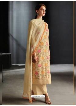 Cream Party Wear Designer Cotton Linen Straight Salwar Suit