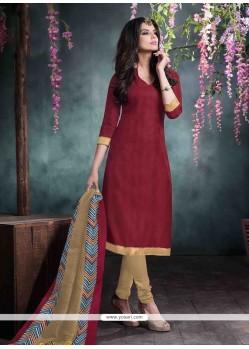Luxurious Maroon Lace Work Bhagalpuri Silk Churidar Salwar Kameez
