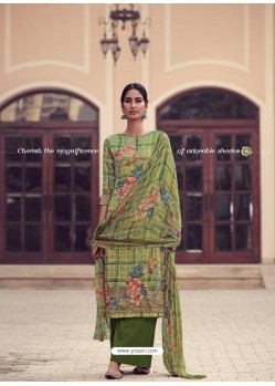 Green Fabulous Designer Party Wear Jam Silk Palazzo Suit