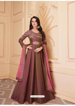 Old Rose Mesmeric Designer Party Wear Soft Silk Gown Style Anarkali Suit