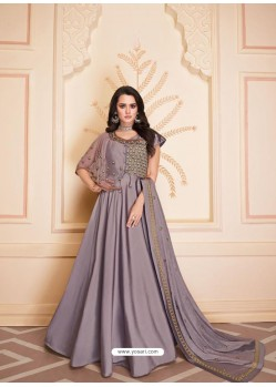 Dusty Pink Mesmeric Designer Party Wear Soft Silk Gown Style Anarkali Suit