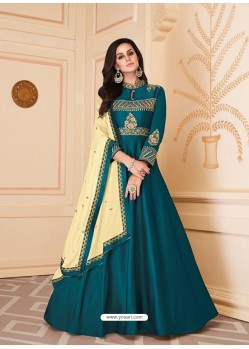 Teal Blue Mesmeric Designer Party Wear Soft Silk Gown Style Anarkali Suit