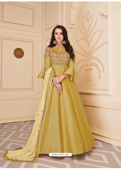 Yellow Mesmeric Designer Party Wear Soft Silk Gown Style Anarkali Suit