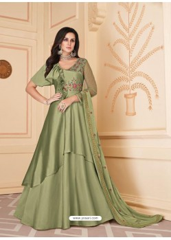 Olive Green Mesmeric Designer Party Wear Soft Silk Gown Style Anarkali Suit
