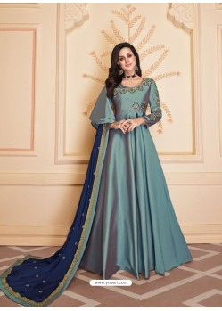 Aqua Grey Mesmeric Designer Party Wear Soft Silk Gown Style Anarkali Suit