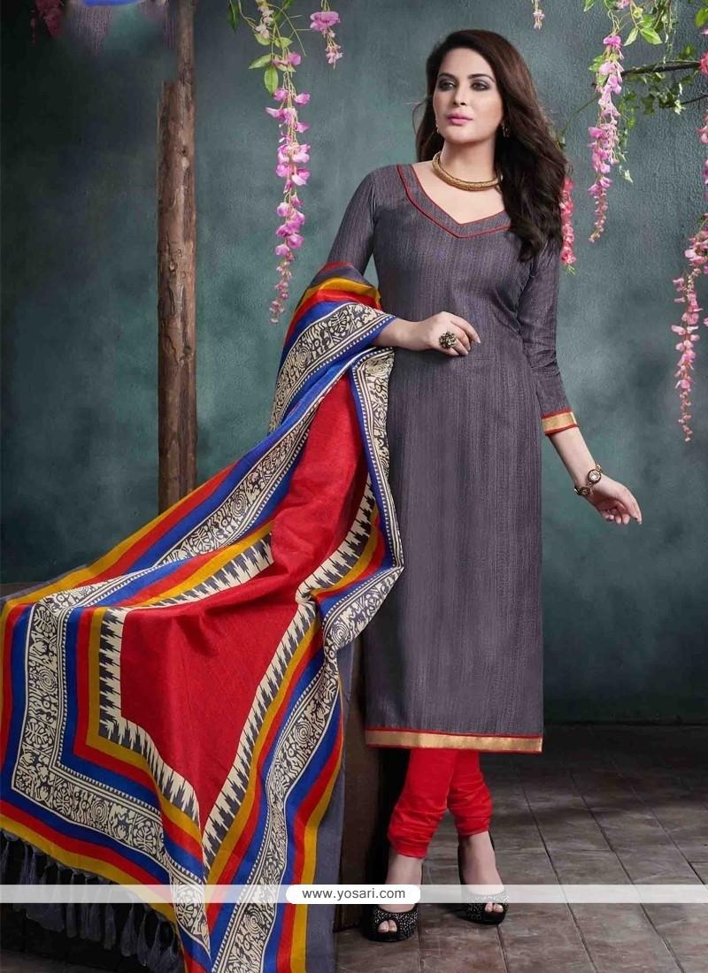 Magnetize Lace Work Grey Bhagalpuri Silk Churidar Salwar Kameez
