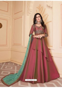 Rose Red Mesmeric Designer Party Wear Soft Silk Gown Style Anarkali Suit