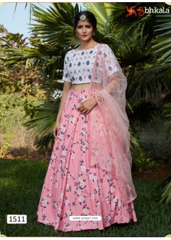 Pink Girlish Designer Party Wear Lehenga