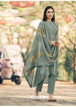 Grey Party Wear Designer Maslin Silk Cotton Straight Salwar Suit