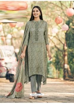 Olive Green Party Wear Designer Maslin Silk Cotton Straight Salwar Suit