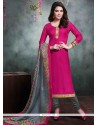 Magnetize Lace Work Hot Pink Bhagalpuri Silk Churidar Salwar Kameez