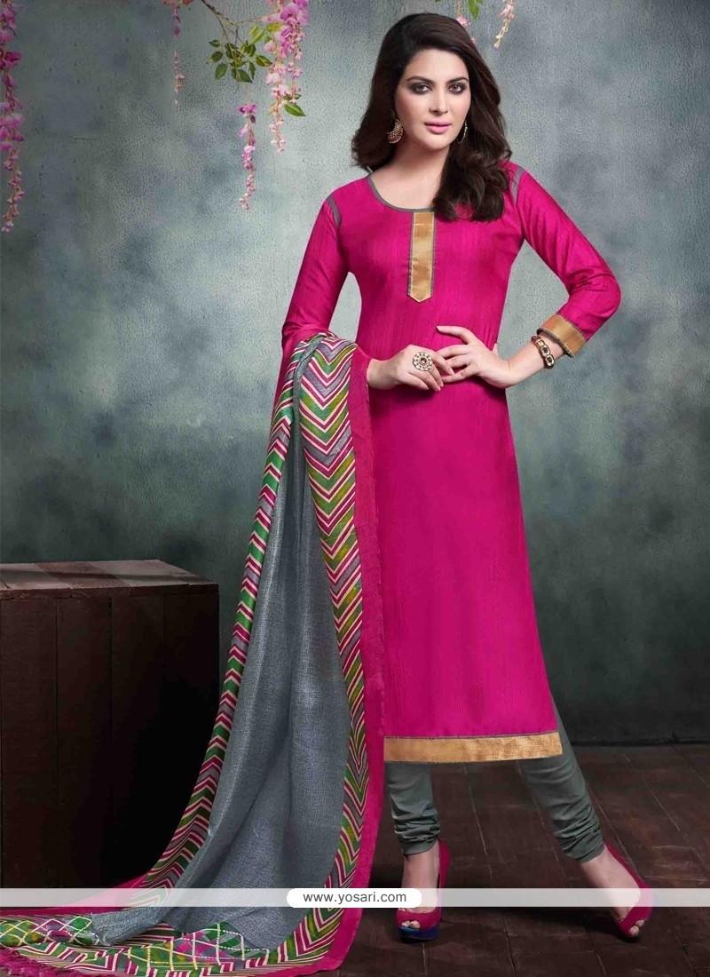 02da78adad Shop online Magnetize Lace Work Hot Pink Bhagalpuri Silk Churidar ...