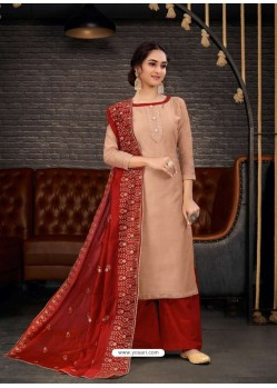 Beige Party Wear Designer Chanderi Straight Salwar Suit