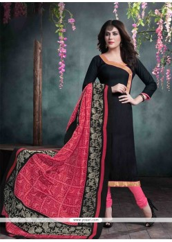 Superlative Black Churidar Salwar Suit