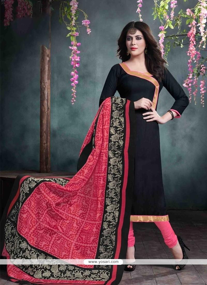 Superlative Black Churidar Salwar Suit