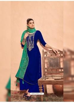Royal Blue Heavy Designer Party Wear Folkon Velvet Palazzo Salwar Suit