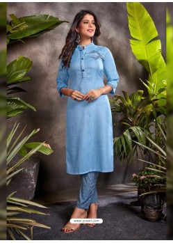 Blue Fabulous Readymade Designer Party Wear Palazzo Salwar Suit