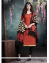 Perfect Lace Work Rust Bhagalpuri Silk Churidar Salwar Kameez