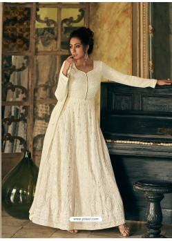 Off White Latest Designer Real Georgette Party Wear Anarkali Suit