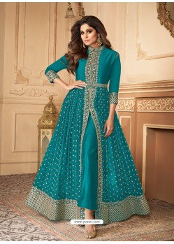 Blue Latest Front Cut Designer Real Georgette Party Wear Anarkali Suit