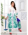 Competent Embroidered Work Georgette White Salwar Suit