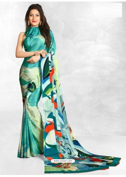 Aqua Mint Latest Designer Casual Wear Crepe Sari