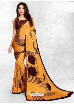 Mustard Latest Designer Casual Wear Crepe Sari