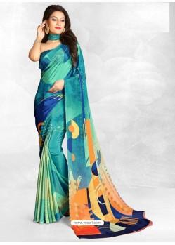 Blue Latest Designer Casual Wear Crepe Sari
