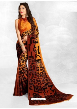 Orange Latest Designer Casual Wear Crepe Sari