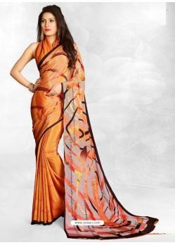 Orange Latest Designer Casual Wear Crepe Sari