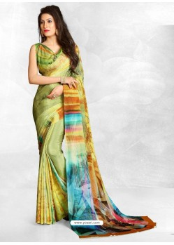 Green Latest Designer Casual Wear Crepe Sari