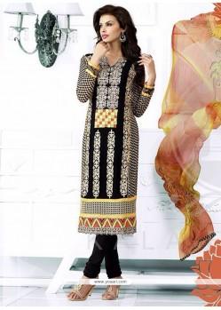 Luxurious Black Georgette Churidar Salwar Suit