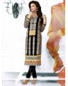 Luxurious Black Georgette Churidar Salwar Suit