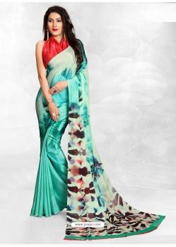 Aqua Mint Latest Designer Casual Wear Crepe Sari