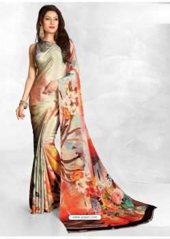 Multi Colour Latest Designer Casual Wear Crepe Sari