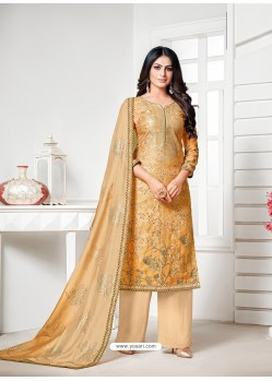 Yellow Designer Pure Cotton Silk Party Wear Palazzo Suit
