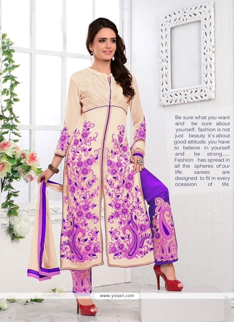 Mod Cream Georgette Designer Salwar Kameez